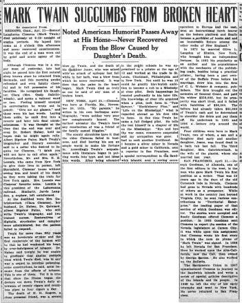 Tonopah Daily Bonanza  1910-04-22 - Mark Twain