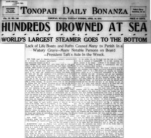 Tonopah Daily Bonanza 1912 - Titanic 2