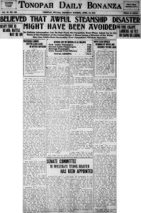 Tonopah Daily Bonanza 1912 - Titanic 3