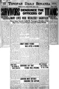 Tonopah Daily Bonanza 1912 - Titanic 4
