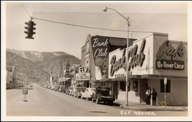 1950 post card ely nevada UNR