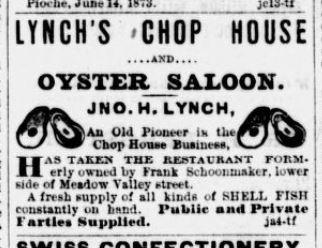 Lynch Chop House Ad 1873 Jul 8