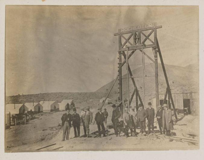 unlv Men at the headframe of the Rochester mine postcard